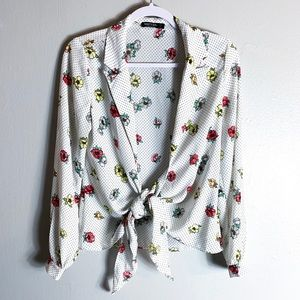 Nasty Gal Floral Tie Front Blouse
